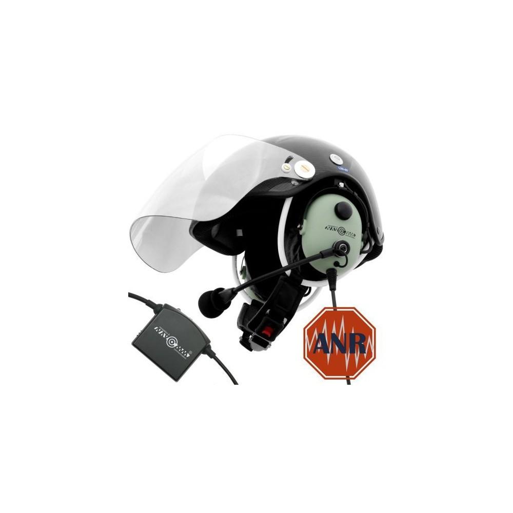 Węglowy kask do PPG z łącznością przewodową